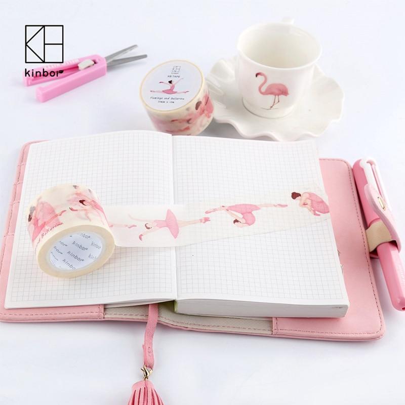 Beautiful Dream Flamingo Ballet Girl Series Paper Tape 35mm Pocket Decorative Tape beautiful darkness