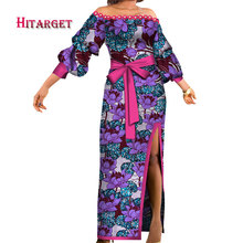 2018New Bazin Riche African Dresses for Woman Print Sexy Slash Neck Dashiki Traditional Clothing Plus 6XL WY3304