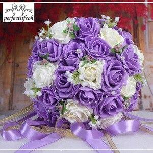 Image 2 - Perfectlifeoh düğün buket El Yapımı Çiçekler Dekoratif Yapay Gül Çiçek Inciler Gelin Gelin Aksan Düğün Buketleri