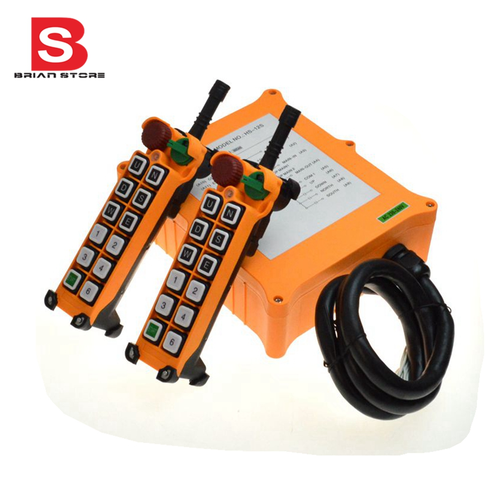 цена на 12-24VDC 12 Channel 1 Speed 2 Transmitters Hoist Crane Truck Radio Remote Control System with Emergency-Stop