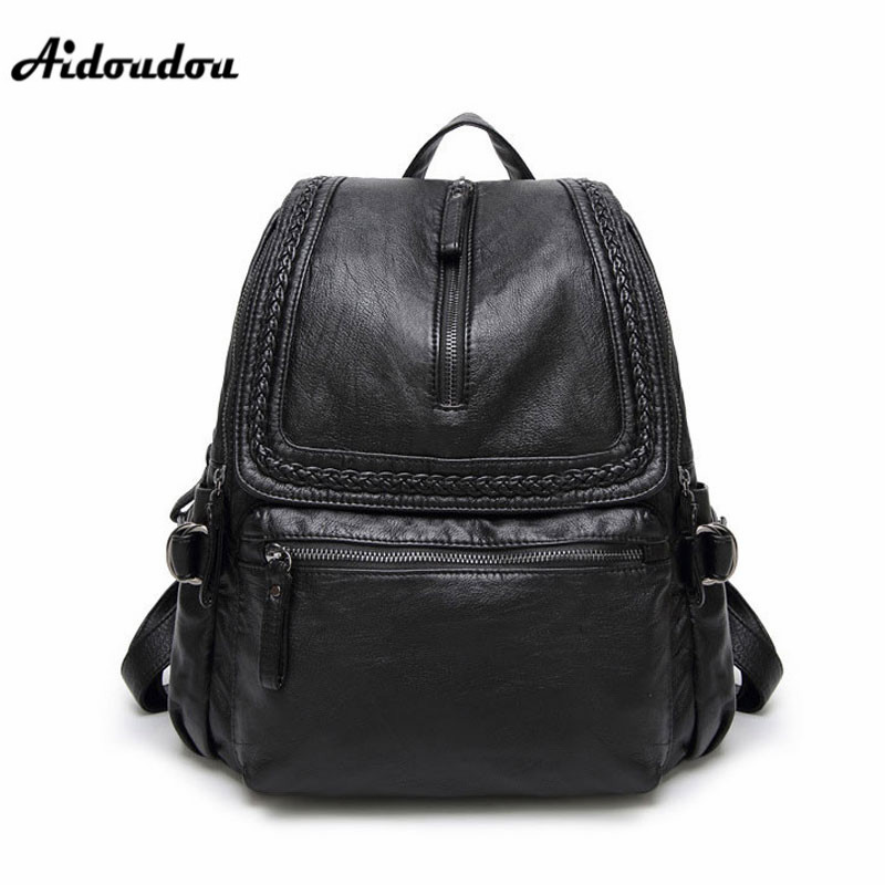 AIDOUDOU Brand Designer Leather Backpacks For Women High Quality School Bags Fashion Ladies Shoulder Bags