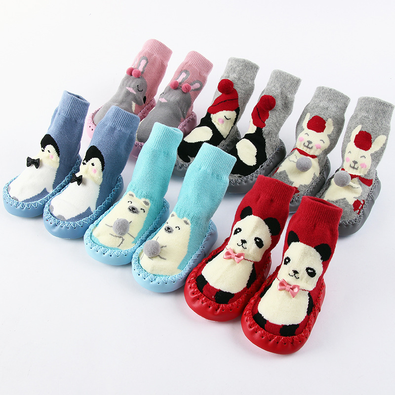 Baby Walking Socks Winter Thickening Floor Socks Cartoon Children Boys Girls Anti-skid Warm Socks Cotton GZ216