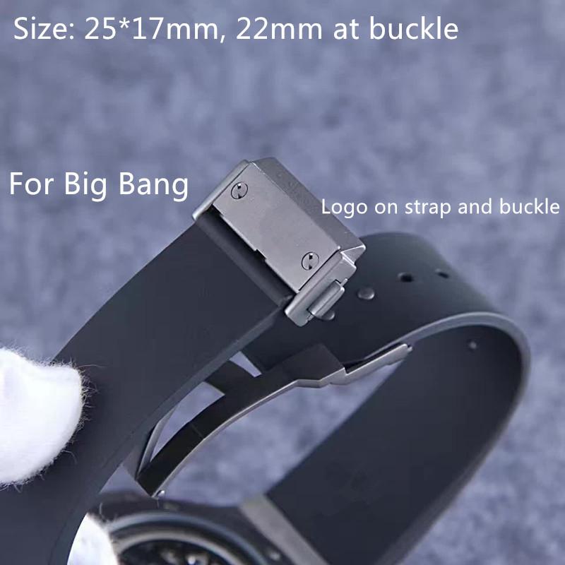 25*17 мм черные часы аксессуары силиконовый ремешок для хублот для большого взрыва для мужчин ремешки для наручных часов пояс с логотипом нержавеющей пряжкой на плоской подошве