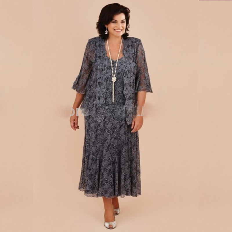 Plus Size Gray Lace Tea Length Mother Of The Bride Dresses With