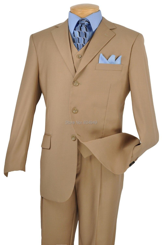 Light Brown Wedding Suits For Men Custom Made, Bespoke Light Brown 3 Button Notch Lapel Men Light Brown Wedding Suit