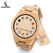 BOBO BIRD A04 Bamboo Wooden Watches Top Luxury Brand Fashion Watches with Leather Band for Men in Gift Box.