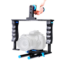 цены DSLR Rig Camera Cage Kit Protective Camera Stabilizer System Video Rig with Handle Grip & Rod for Canon 5D2/6D/7D/70D/800D/700D