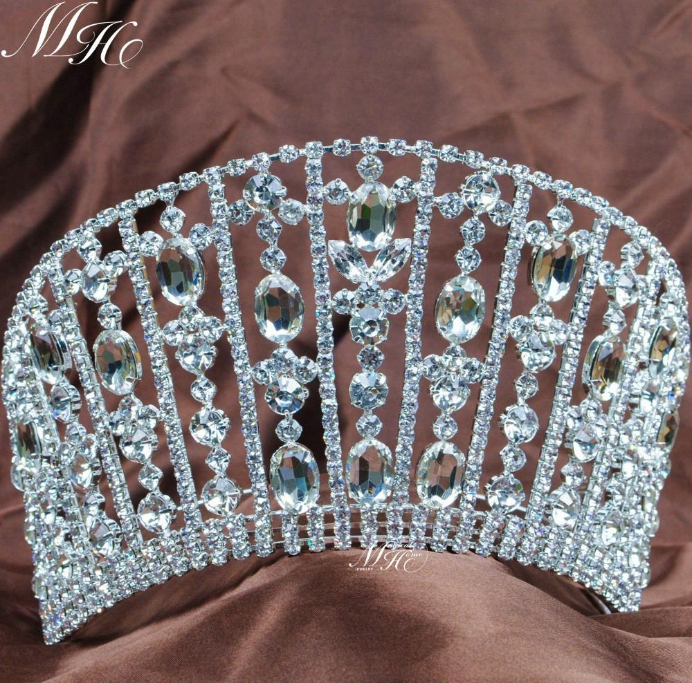 Royal Queen Tiaras Large Rhinestones Crystal Crowns Wedding Bridal Diadem Pageant Prom Party Costumes Silver Plated Hair Jewelry