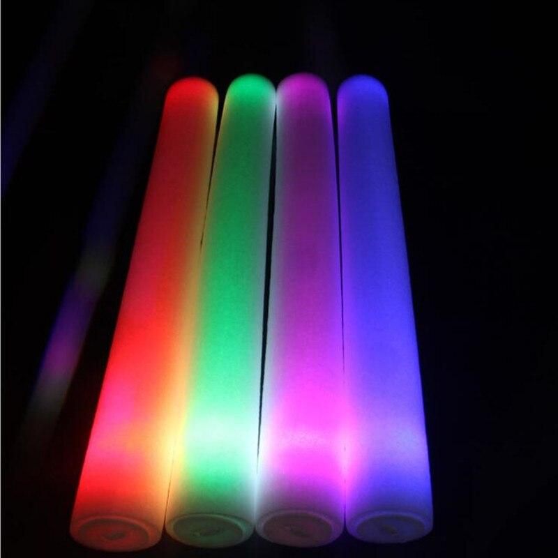 LED Flashing Foam Sticks Glowing Sticks Birthday Favor Toys Bar KTV Concert Cheer Props Rave Glow Party  Christmas Halloween-in Suministros luminosos para fiestas from Hogar y Mascotas    2