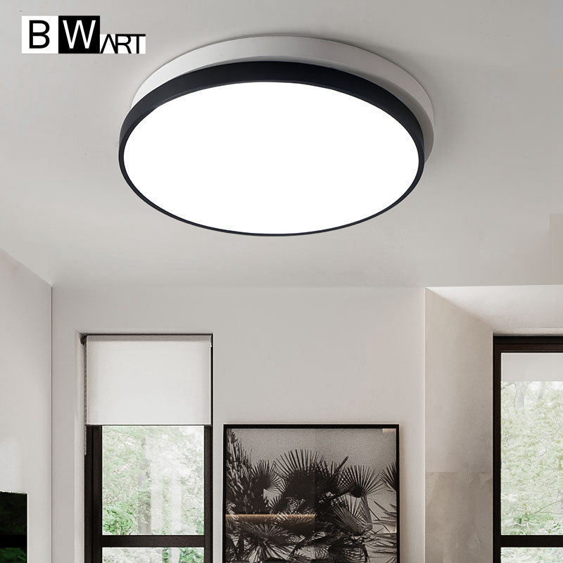 купить Black White round Modern LED Ceiling light Creative modern led ceiling lamp fixture for living room bed room studio lighting по цене 3204.04 рублей