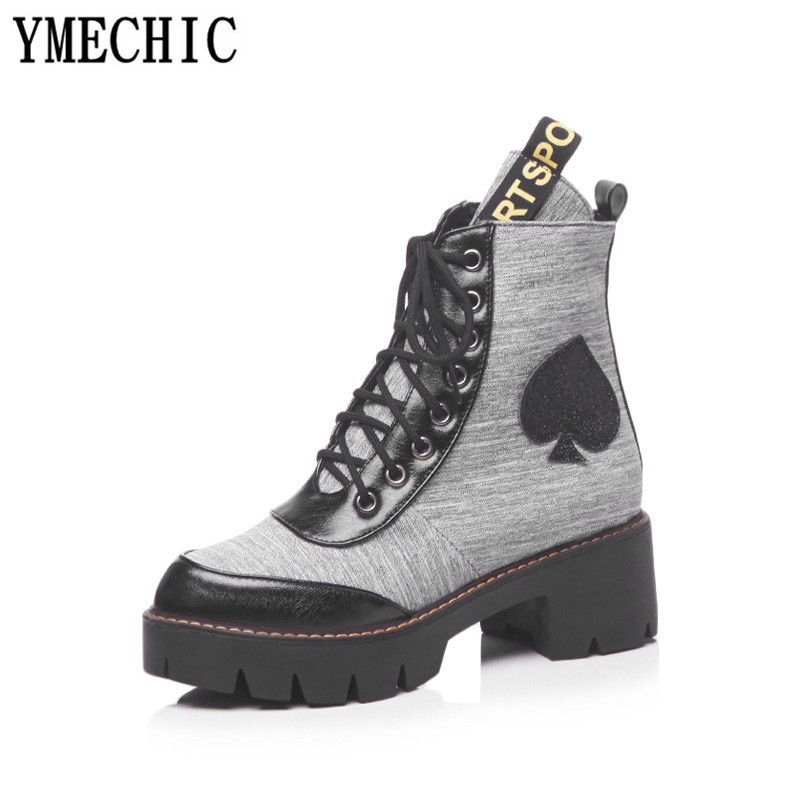 YMECHIC 2018 Plus Size Motorcycle Ankle Boots Women Lace Up Punk Military  Combat Boots Block Heel Gothic Shoes Sneakers Autumn-in Ankle Boots from  Shoes on ... 3855512de831