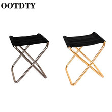 OOTDTY Outdoor Aluminum Folding Fishing Stool Chair Portable Mini Shrinkable Camping Beach Barbecue  Chairs