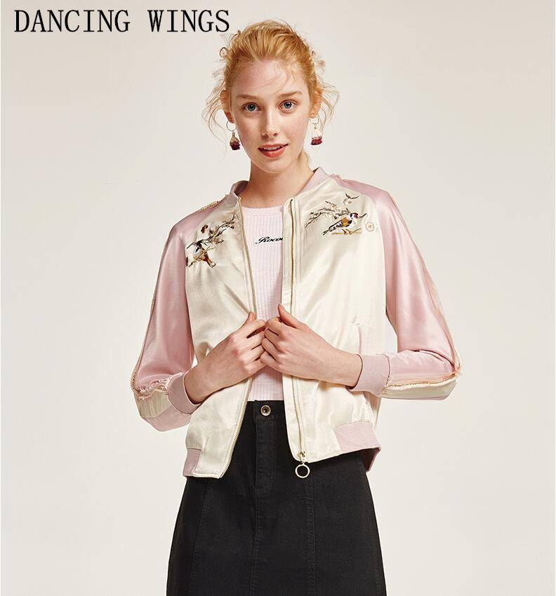 Spring Fashion Stand Collar Flower Embroidery Baseball Basic Jacket Female Green Pink Short Coat