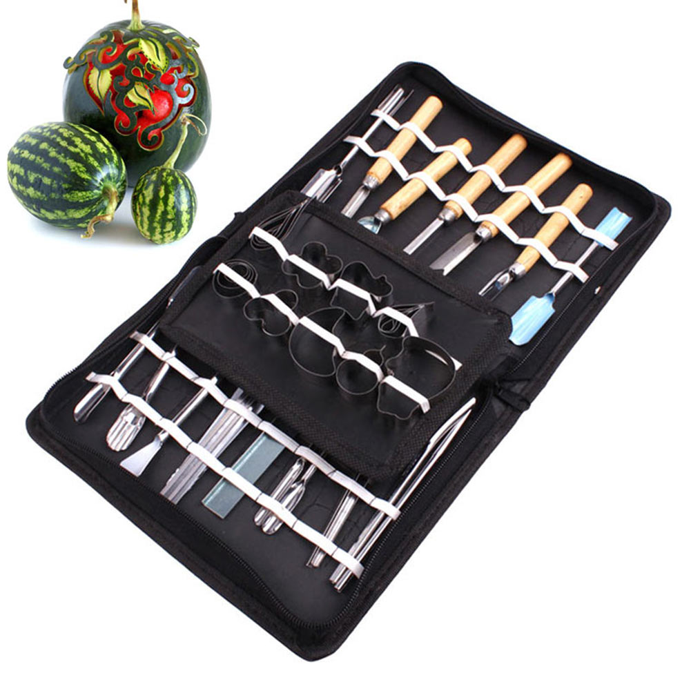 Newest 46 Pcs/Set Stainless Steel Watermelon Cutting Slicing Vegetable Fruit Carving Tool DIY Assorted Cold Dishes Tools Hot Sa|Hand Tool Sets| |  - title=