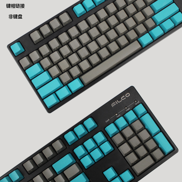 mechanical keyboard thick pbt keycap cherry mx oem height side printed  Green grey color matching 87 104 108keys-in Keyboards from Computer &  Office on