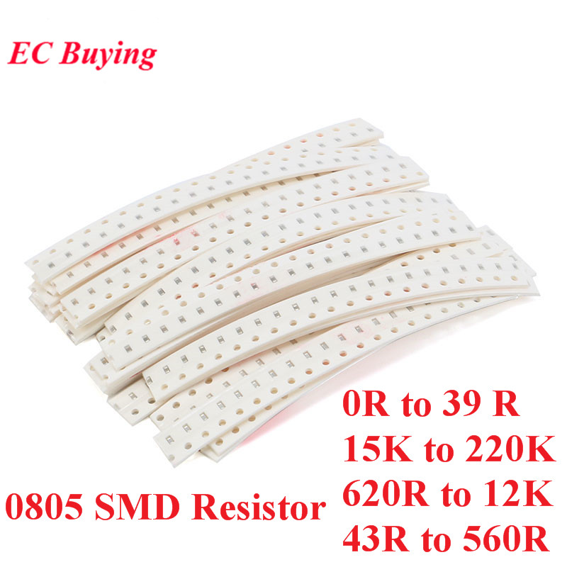 500pcs 0805 SMD <font><b>Resistors</b></font> Kit Assorted Kit 5% Sample Kit Sample Bag DIY Kit Electronic Component 25 Values*20pcs image