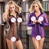 High Quality New Women Sexy Long Sleeve Sheer Mesh Lingerie Sleepwear Purple Slips Lingerie Transparent Erotic