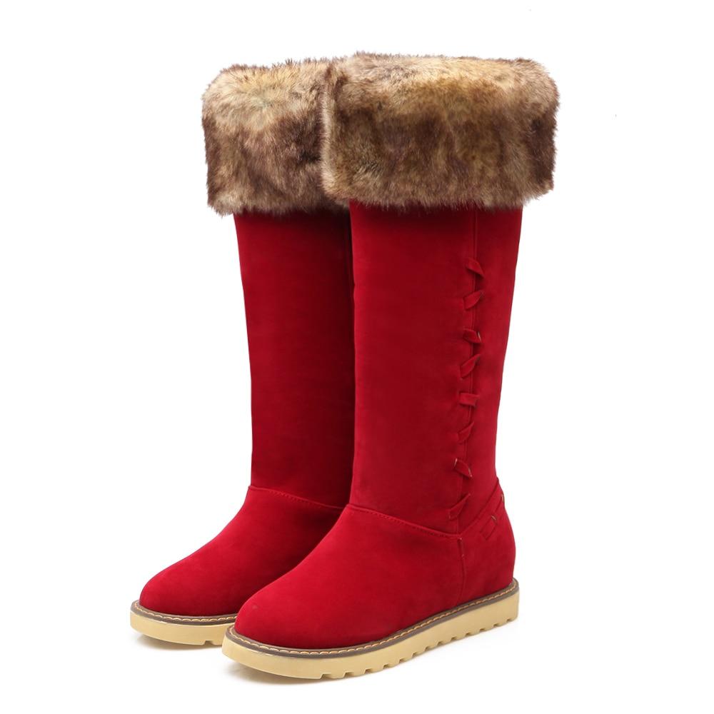 Women Winter Snow Boots 2016 New Arrival Height Increasing Kitten Heels Nubuck Leather Plush Thick Warm Boots Plus Size 43 2015 winter new arrival australia classic warm boots genuine leather handmade rhinestones diamond 3d flower women snow boots