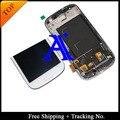 Envío libre 100% probado original para samsung galaxy s3 i9300 i9305 i747 lcd digitalizador asamblea con marco blanco/negro/azul