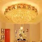 Lámpara LED de techo de cristal moderna lámpara de techo de oro blanco cálido blanco neutro blanco frío blanco 3 colores regulable controlador