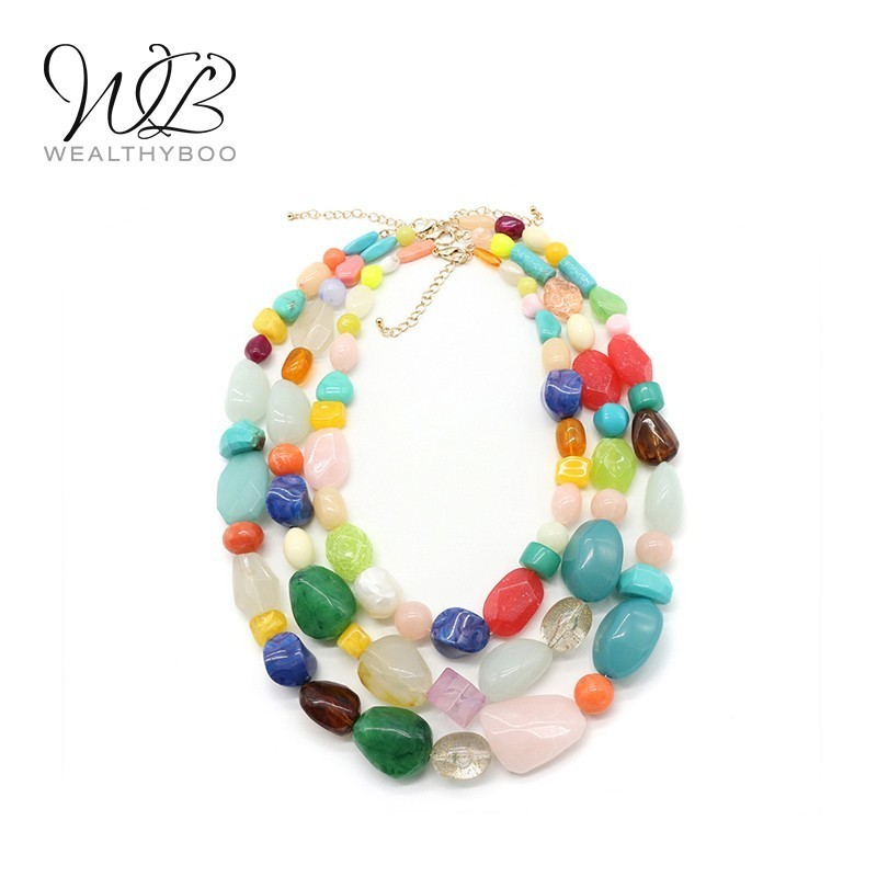 WEALTHYBOO 3 Separate Rows Chocker Necklace Multi Color Resin Beaded For Women Fashion Jewelry Size 20.5''/24''/28.3''