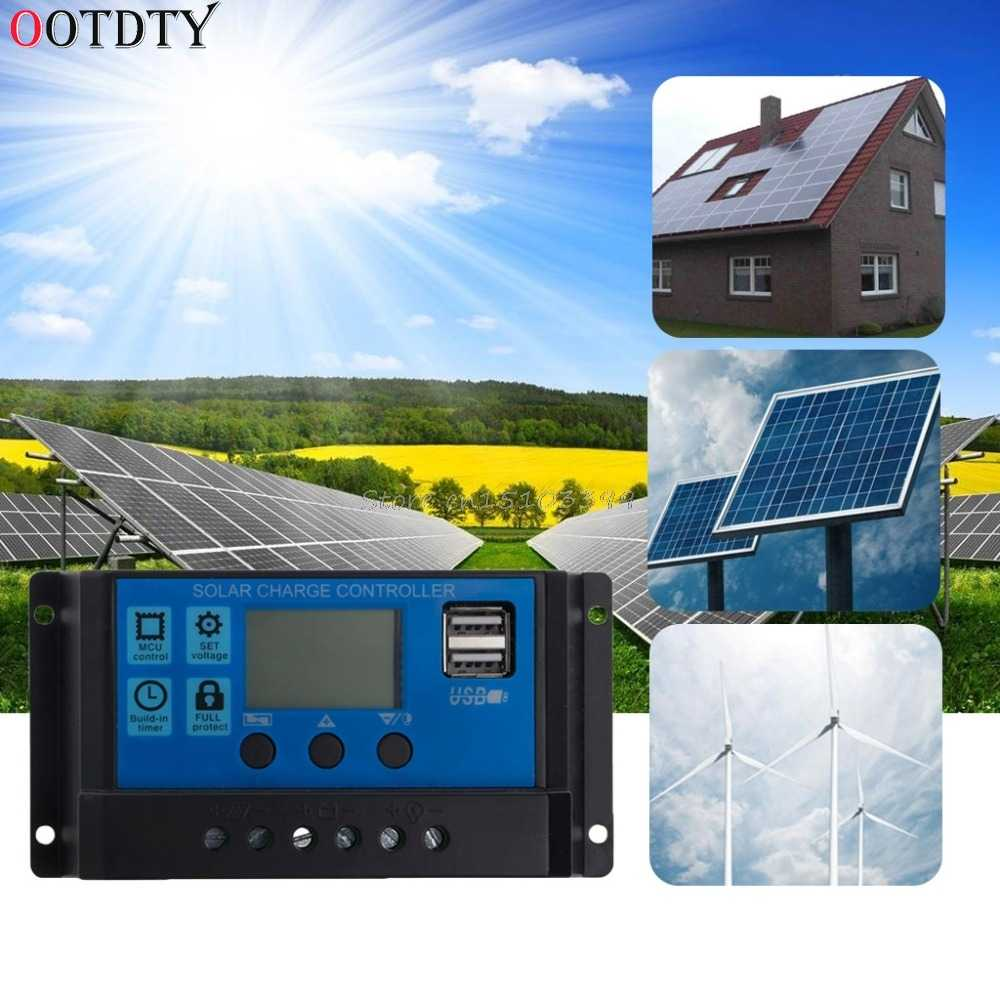OOTDTY PWM 10/20/30A Dual USB Solar Panel Battery Regulator Charge Controller 12/24V LCD Solar Controllers Drop Ship