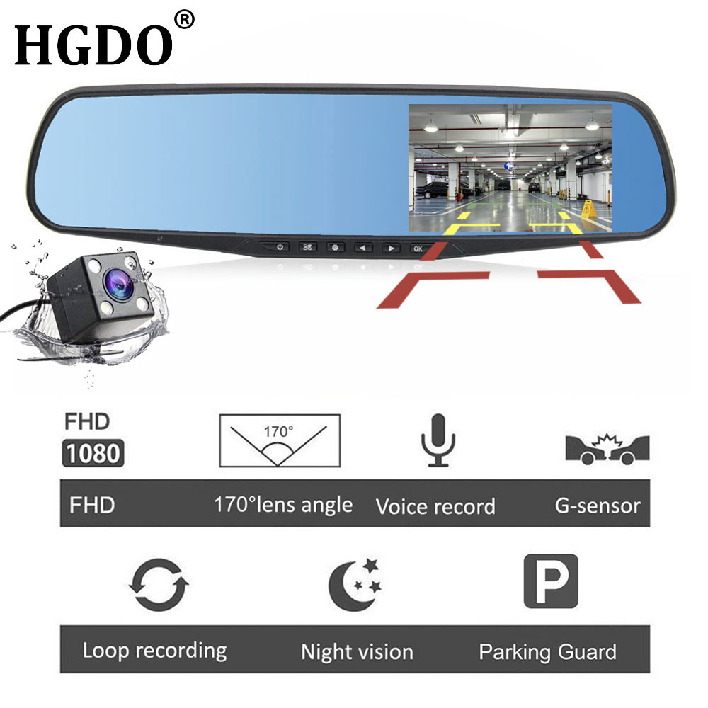 HGDO 4.3 ''FHD 1080 p Double Lentille Voiture Auto DVR Miroir Dash Cam Enregistreur Rétroviseur Nuit Vision Dvr arrière Vue Caméra G capteur