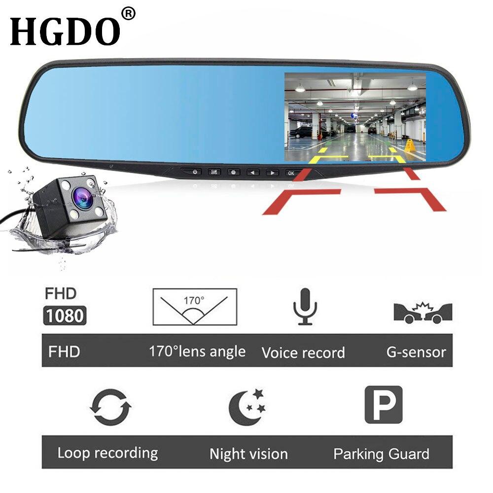 HGDO 4,3 ''FHD 1080 p lente Dual coche Auto DVR espejo Dash Cam registrador espejo retrovisor visión nocturna DVRs cámara de visión trasera sensor G