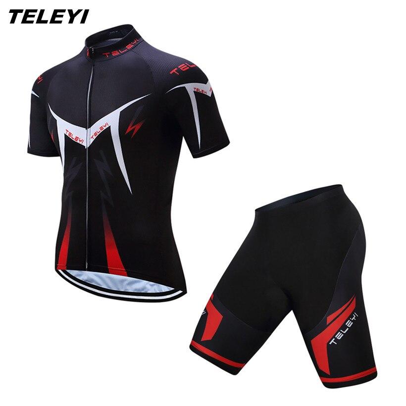 2017 TELEYI 자전거 세트 스포츠 팀 자전거 의류 짧은 소매 로파 Ciclismo MTB 자전거 저지 반바지 정장 착용 셔츠