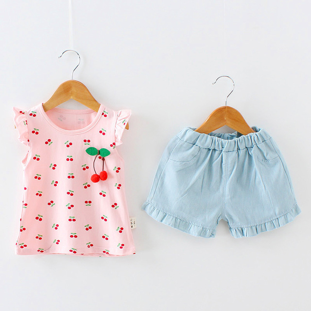 3485253f3 2018 Summer Female Baby Vest Shorts 1 2 3 4 Year Old Girl Pure ...