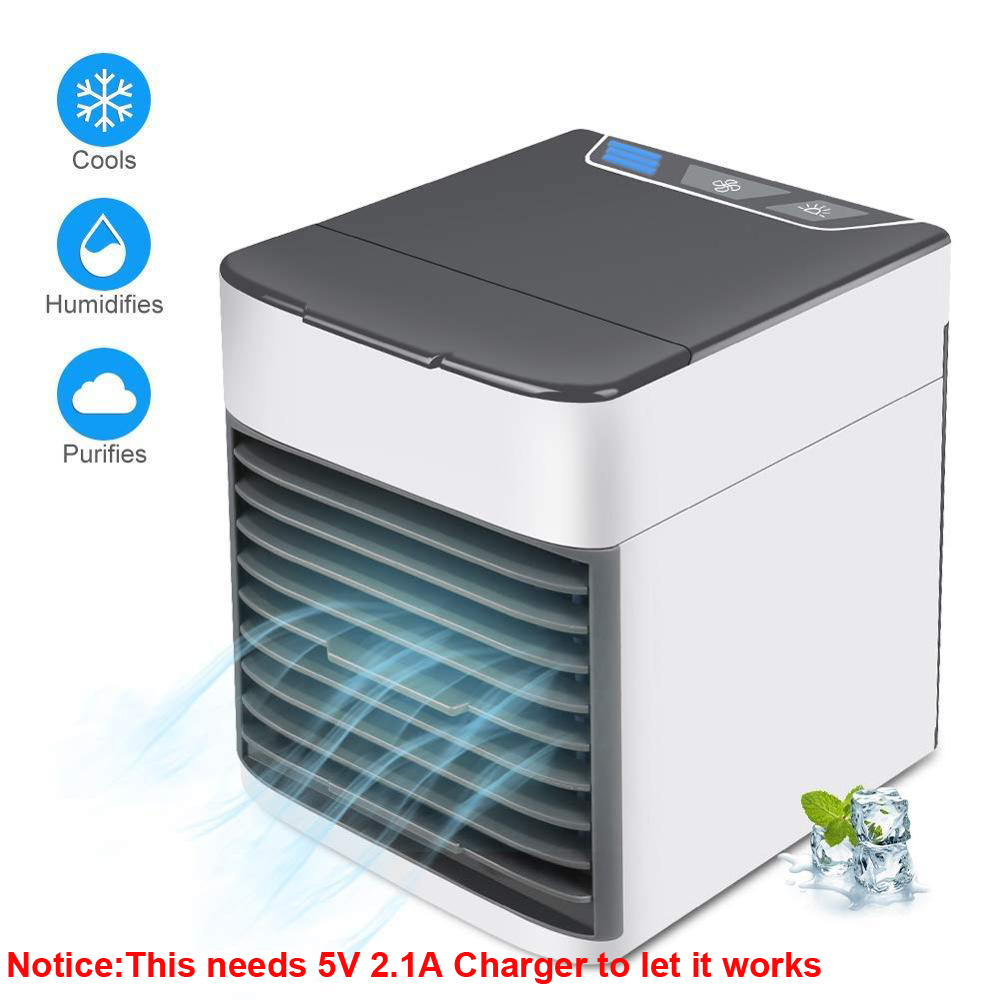 USB Mini Portable Air Conditioner Air Cooler Humidifier Purifier LED Light Personal Space Fan Air Cooling Fan(China)