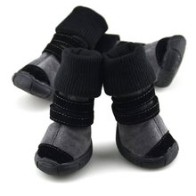 Новая собака Сапоги и ботинки для девочек High-Cut оленьей кожи кашемир Pet Снегоступы зимняя обувь нескользящие хлопковые кашемировые ботинки из мягкой кожи