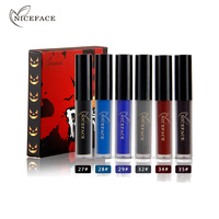 NICEFACE 6 צבעים/ערכת מפחיד ליל כל הקדושים סט גלוס נוזלי שפתון מט איפור שפתיים סקסי עירום שפתון כחול עמיד למים קוסמטי