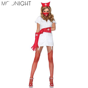 MOONIGHT Sexy Nurse Costume Halloween Costumes For Women V Neck Role Play Hot Sexy Nurse Costume