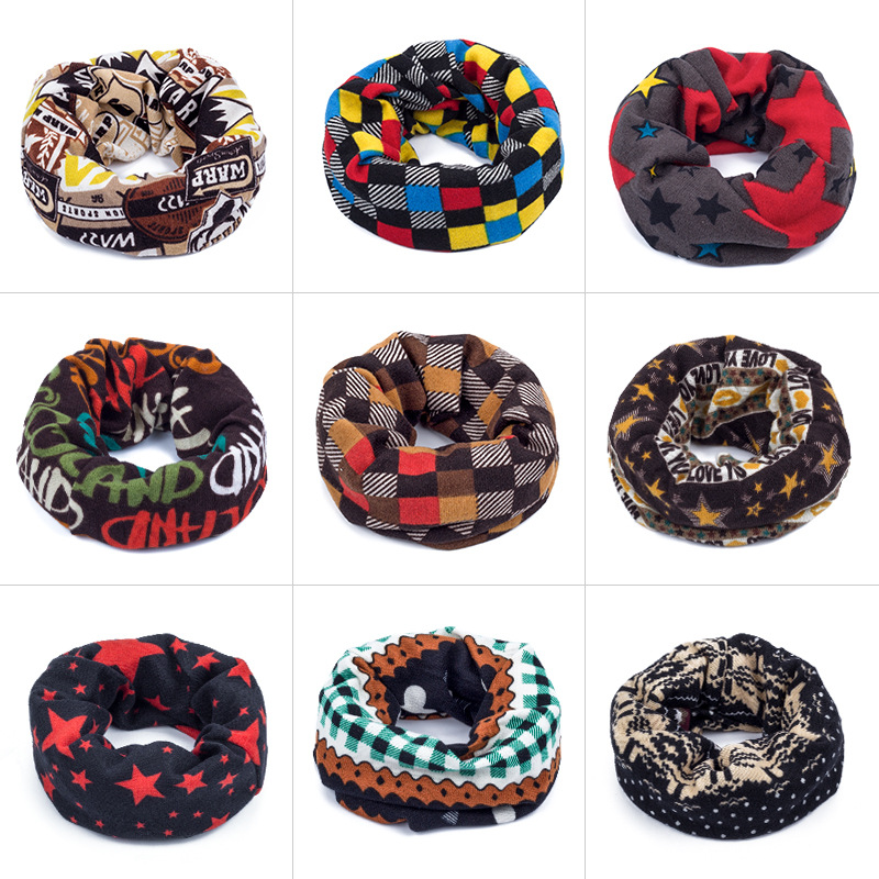 Unisex  winter baby o ring print warm thick scarf  kids boys girls bear grid strip cartoon collar children cap head wear 1 pc