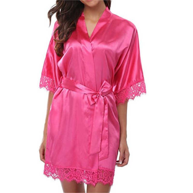 Vestido de mujer vestidos de verano ropa de dormir de encaje sólido de alta calidad un tamaño vestido de dormir de malla Spandex de media manga de longitud Venta caliente