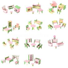 Lots 49Pcs 11 Sets Simulation Miniature Wooden Furniture Toys DollHouse Wood Furniture Set Dolls Baby Room For Kids Play Toy