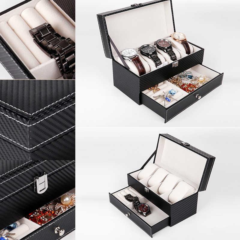 طبقة مزدوجة صندوق ساعة حافظة جلدية للسفر مستحضرات التجميل درج مجوهرات المنظمون جمع