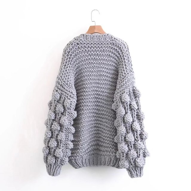 ab24d98ddb Autumn 2017 Winter women lazy sweater ball lantern sleeved cardigans  knitting pull cardigan female cadigans women sweater jumper
