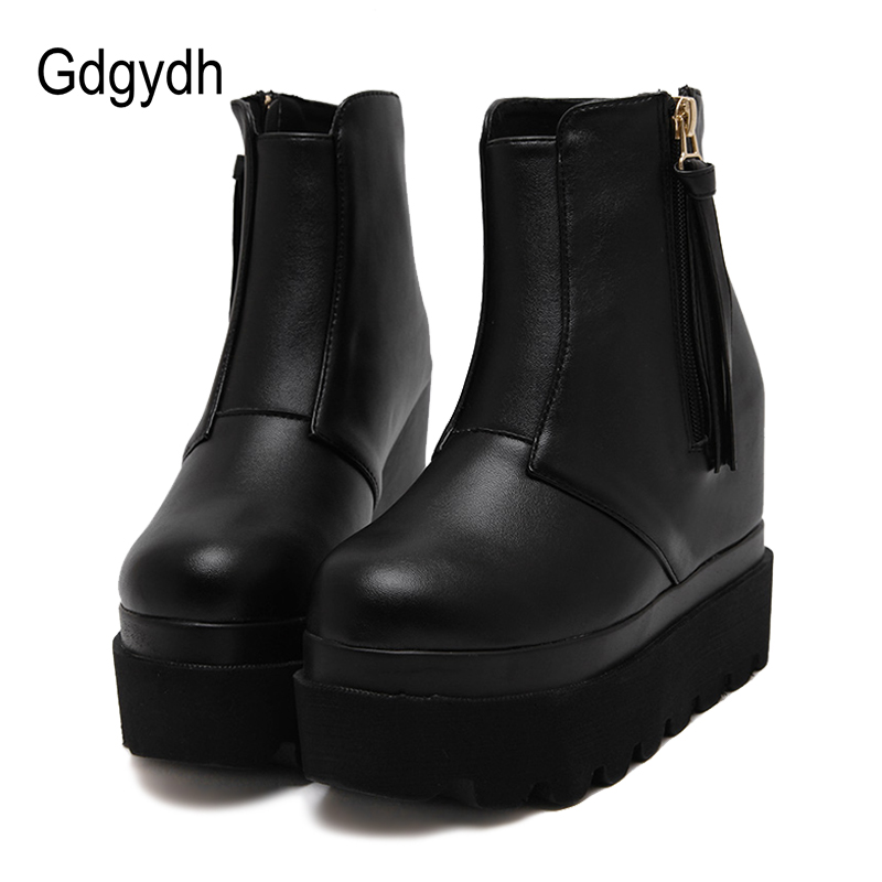 Gdgydh Fashion Wedges Ankle Boots For Women 2017 Autumn Tassel Casual Height Increasing Shoes Zipper Soft Leather Boots Woman platform women boots 2016 fashion casual shoes woman ankle boots slip on flats autumn spring wedges women shoes xwc831
