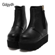 Gdgydh Fashion Wedges Ankle Boots For Women 2017 Autumn Tassel Casual Height Increasing Shoes Zipper Soft Leather Boots Woman