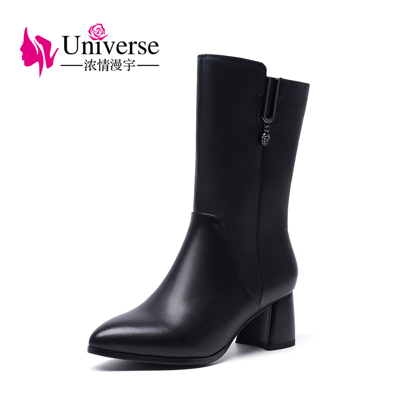 Universe mid calf winter boots women shoes with warm short plush lining genuine leather med heel boots G382 lukuco pure color women mid calf boots microfiber made buckle design low hoof heel zip shoes with short plush inside
