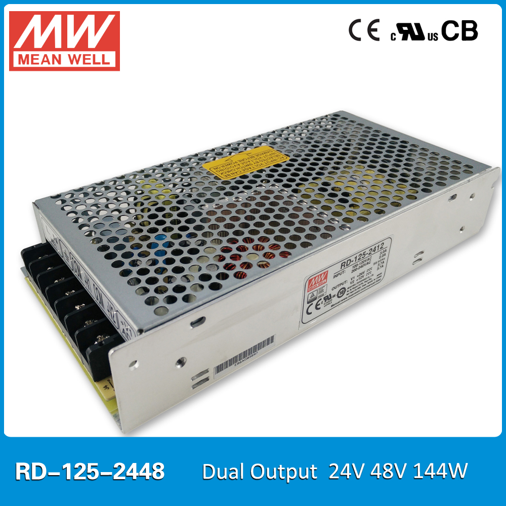 Original Mean well RD-125-2448 144W 24V 48V 2A Dual output Meanwell Power Supply input 85-264VAC CB UL CE approvedOriginal Mean well RD-125-2448 144W 24V 48V 2A Dual output Meanwell Power Supply input 85-264VAC CB UL CE approved