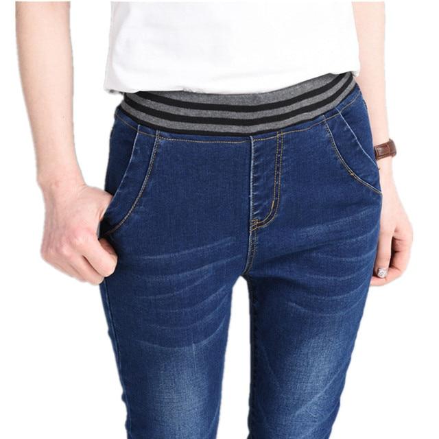 f7cc50e66 Outono Calça Jeans Cintura Elástica Mulheres Ankel-Comprimento das Calças  Stretch de Cintura Alta Mãe