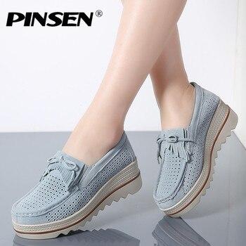 PINSEN 2019 wiosna kobiet płaskie buty na koturnie trampki Tassel wycięcia skórzane zamszowe buty Slip On kobieta pnącza mokasyny