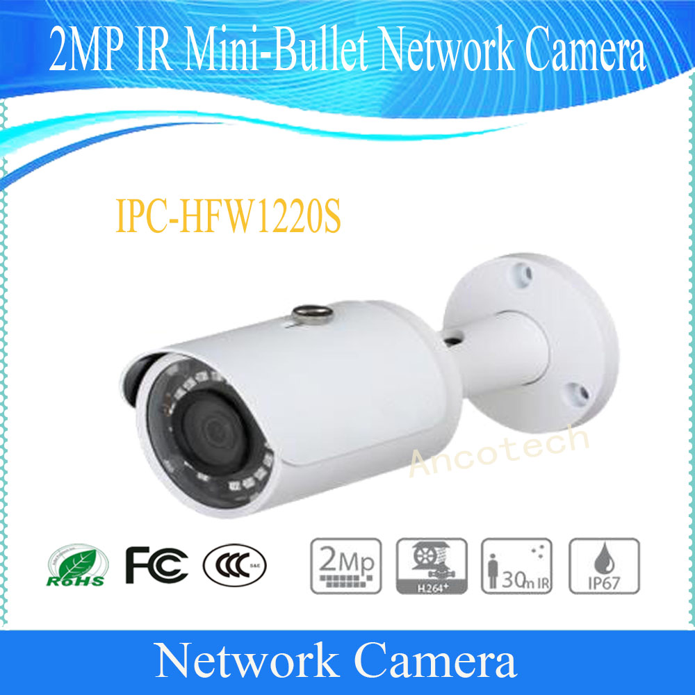 Free Shipping DAHUA Security IP Camera 2MP IR Mini-Bullet Network Camera IP67 With PoE Without Logo IPC-HFW1220S free shipping dahua security cctv ip camera 5mp wdr ir mini bullet camera with poe ip67 no logo ipc hfw1531s