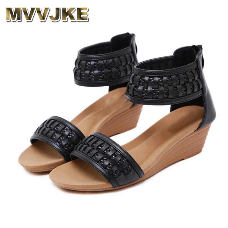 MVVJKE   2019 Summer Bohemia Weave Knitted Style Women Fashion Peep Toe Hollow Out Wedge Heels Gladiator Sandals Roman Shoes(China)