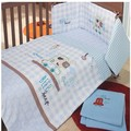 Blue 100% cotton Embroidery Car series baby bedding set quilt pillow bumper Mattress Cover 5 item crib bedding set