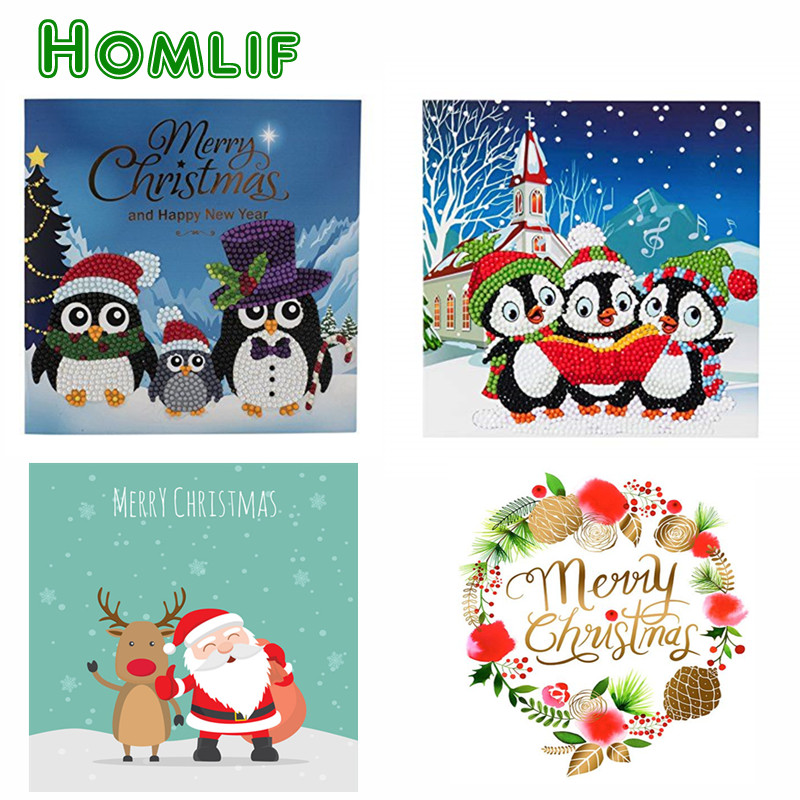 penguin full square wolf diamond painting christmas cards custom 5d ...