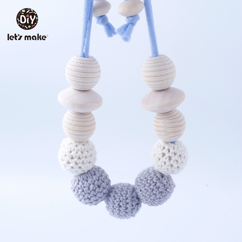 Let's Make 5PC Food Grade Baby Teething Nursing Necklace For Breastfeeding Mommy Boho style Wooden Beads Pendant Necklace